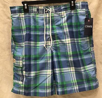 39563cada3 NWT Mens CHAPS Size Large Blue Green White Tartan PLAID Cargo Swim TRUNKS  Suit