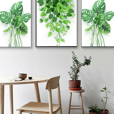 Modern Nordic Green Plant Leaf Art Poster Print Wall Picture Home DIY Decor Lot