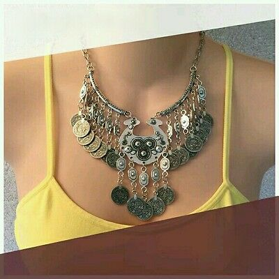 HOT Boho Ethnic Coin Statement Necklace Boho Free Gypsy People Coachella Jewelry