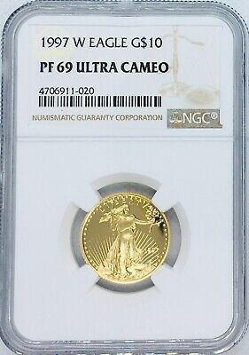 1997 W 1/4 oz Proof American Gold Eagle PF69 NGC $10 Coin Ultra Cameo West Point