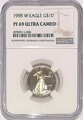 1998 W 1/4 oz Proof American Gold Eagle PF69 NGC $10 Coin Ultra Cameo West Point