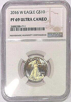 2016 W 1/4 oz Proof American Gold Eagle PF69 NGC $10 Coin Ultra Cameo West Point