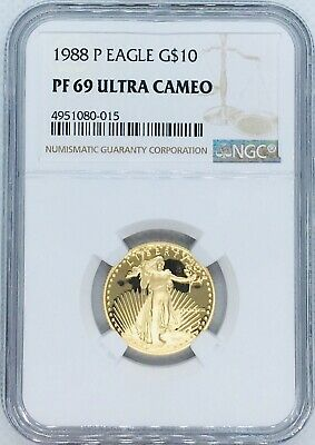 1988 P 1/4 oz Proof American Gold Eagle PF 69 NGC G$10 Coin Ultra Cameo Mint