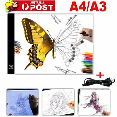 LED Drawing Pad Table Box Art Tattoo Stencil Board Light Tracing Dimmable A4 A3