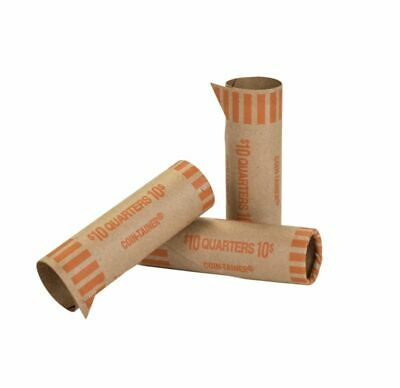 Coin-Tainer® Preformed Tubular Coin Wrappers, Quarters, Orange, Box of 1,000
