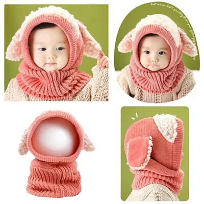 Colors Kids Baby Boy Girl Hat Winter Warm Knit Cotton Bobble Beanie Cap +Scarf
