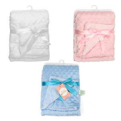 Cute Super Soft Personalised baby blanket Pink/Blue/White For Choose