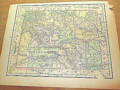 Antique 1896 Map of WYOMING w/ Colored Counties & Reverse is North Dakota