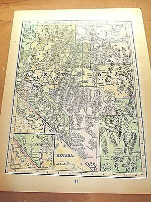 Antique 1896 State Map of NEVADA with Colored Counties