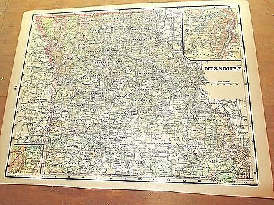 Antique 1896 Map of MISSOURI w/ Colored Counties & Reverse is IOWA