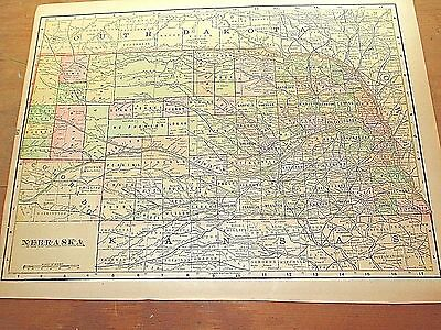 Antique 1896 Map of NEBRASKA w/ Colored Counties & Reverse is NORTH DAKOTA