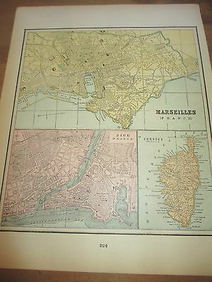 Antique 1896 Colored City Map of Nice/Marseilles & Reverse is Valencia/Valletta