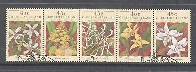 Christmas Island  1994 Orchids fine used strip 5 sheet stamps