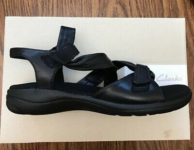 96433714ee0 Clarks Women s Saylie Moon Strappy Sandal Black Leather 9 Medium US NEW IN  BOX