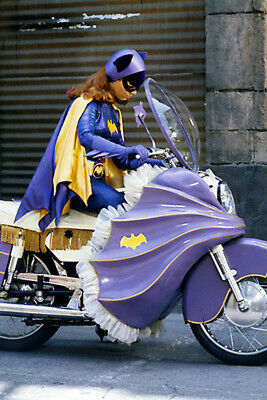 Yvonne Craig Batman In Batgirl Costume With Purple Bat Motorbike 24X36 Poster