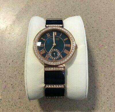 Anne Klein NY 12/2300NVRG Women's 33mm Rose Gold Tone/Navy Crystal Accent Watch.