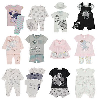Disney Dumbo Clothing Jogger Set Baby Grow, T-Shirt& Shorts Dress Romper & Hat