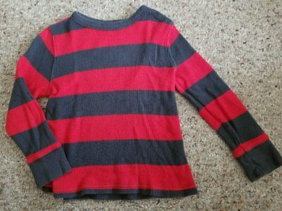 OLD NAVY Gray and Red Striped Thermal Waffle Weave Long sleeved Top Boys Size 4T