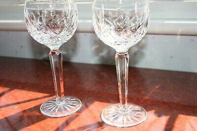 "2 Waterford Crystal Lismore Tall Wine/Hock Glasses, Signed No Damage 7.3/8"" Tall"