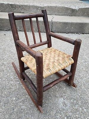 Antique 1920s Childs Adirondack Hickory Stick Rocking Chair Primitive AAFA Folk