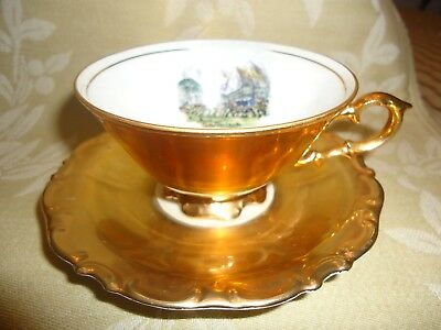 "Bavarian ""Waldershof"" 24K Gold China Teacup/Saucer"