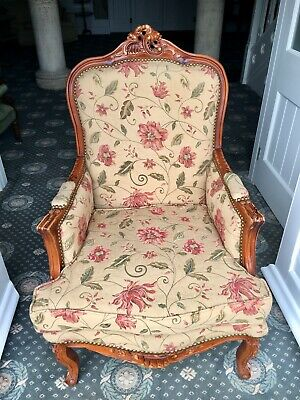 Antique Armchair French Louis Style Walnut Chair floral upholstery