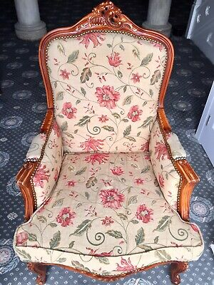 Antique Armchair French Louis Style Walnut Chair floral upholstery (One Of Two)