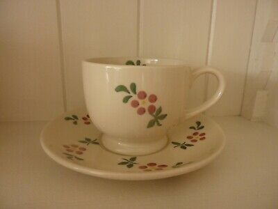 Emma Bridgewater teacup and saucer Red Flowers rare first and discontinued
