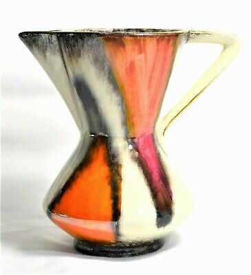 Vintage Art Deco German Orange/ Pink/brown Glaze Art Jug Foreign 265-14 Keramik