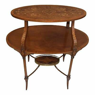 Antique English Mahogany  Inlaid Three-Tiered Serving Table - Bottom tier