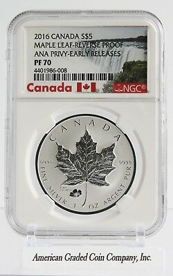 2016 $5 Canada EARLY RELEASE ANA POPPY PRIVY 9999 Silver Maple Leaf PF70 - RARE!
