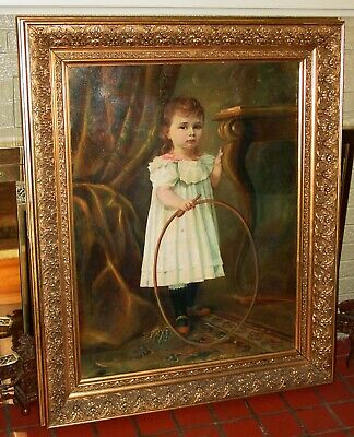Antique Oil on canvas painting charming young girl with hoop and stick ---15536