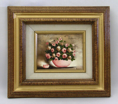 Miniature Oil Painting On Canvas - Pink Roses In Bowl - Matted, Framed & Signed