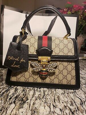 5237abbc1676 GUCCI QUEEN MARGARET GG mini Black/Beige Bee buckle shoulder bag ...