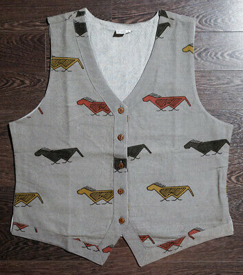 Wood Block Print Vest with Abstract Horse Print - 100% Cotton, Made in India