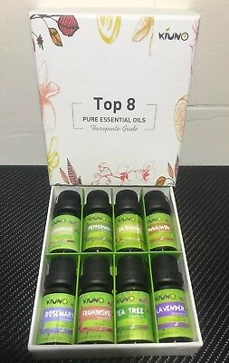 Aromatherapy Top 8 Essential Oils 100% Pure & Therapeutic Grade Set - 10ml Each