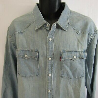 a6c7240d2cc Levi s Original Brand Pearl Snap Denim Shirt XL Faded Blue Western  Rockabilly