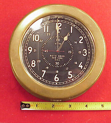 VINTAGE BRONZE ROTH BROS NEW YORK LECOULTRE 8 DAY BOAT YACHT CLOCK  5 3/8in