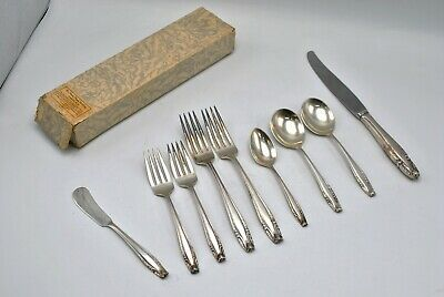 1937 9pc Wallace Stradivari Sterling Silver Flatware Dinner Lunch Silverware Set