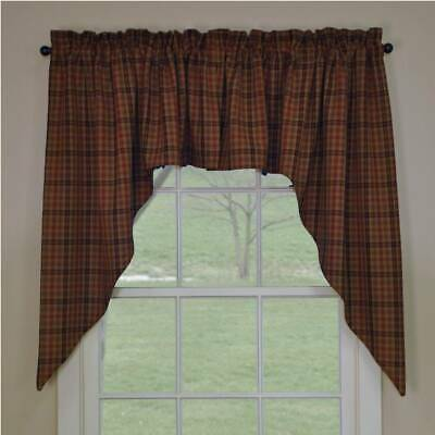 New Country rustic Homespun Rust Wine Black PRIMITIVE SPICE CAFE SWAGS Curtains