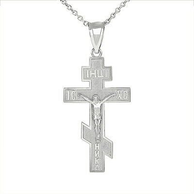 Sterling Silver Jesus Christ Russian Orthodox Crucifix Cross Pendant Necklace