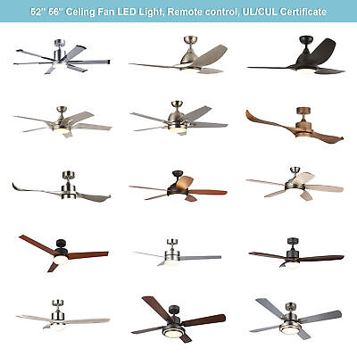 """Ceiling Fan 15W LED Light w/Remote Control Brushed Nickel / Old Bronze 52"""" 56''"""