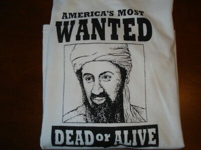 e990f0a19 OSAMA BIN LADEN Wanted Dead or Alive Mugshot T-Shirt Sz Mens Large (PG23