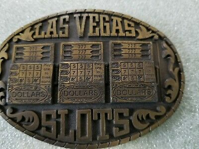 Vintage 1983 Las Vegas SLOTS Belt Buckle #RS12 Indiana Metal Craft Brass