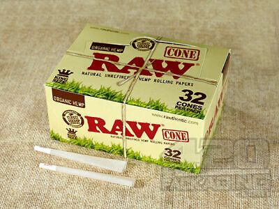 RAW Organic King Size Pre Rolled Cones - Box 12 PACKS - 32 Cones Pack Natural