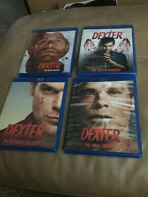 Dexter: Complete Seasons 5, 6, 7 and 8 on Blu-Ray. Micheal Hall stars.