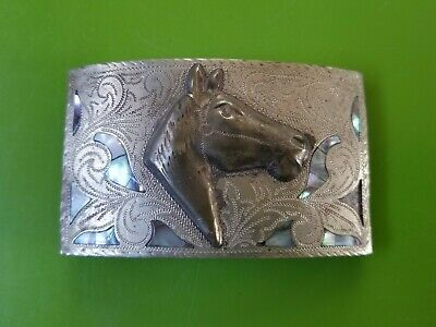 Alpaca Mexico 3D Horse Head with Abalone Shell Accents Belt Buckle Western