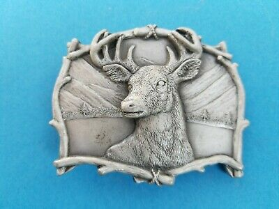 Vintage 1995 Deer Buck Head Belt Buckle #4223 Mountains Lake Pewter GAP