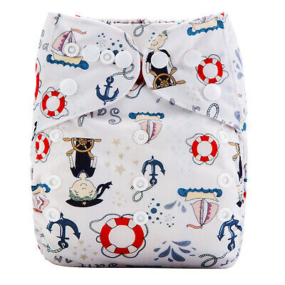 Economical Modern Cloth Reusable Washable Baby Nappy Diaper & Insert, Sailor