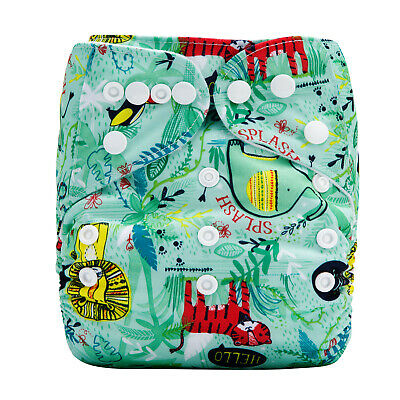Modern Cloth Reusable Washable Baby Nappy & Insert, Green Rainforest & Jungle